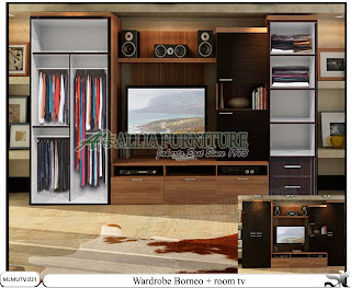 Lemari minimalis model tv unit Borneo