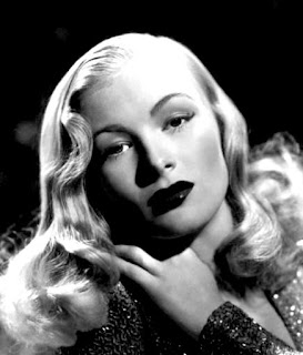 Vintage black and white photo of Veronica Lake.