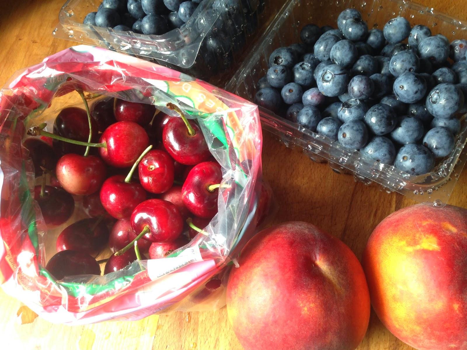 blueberries, cherries, peaches