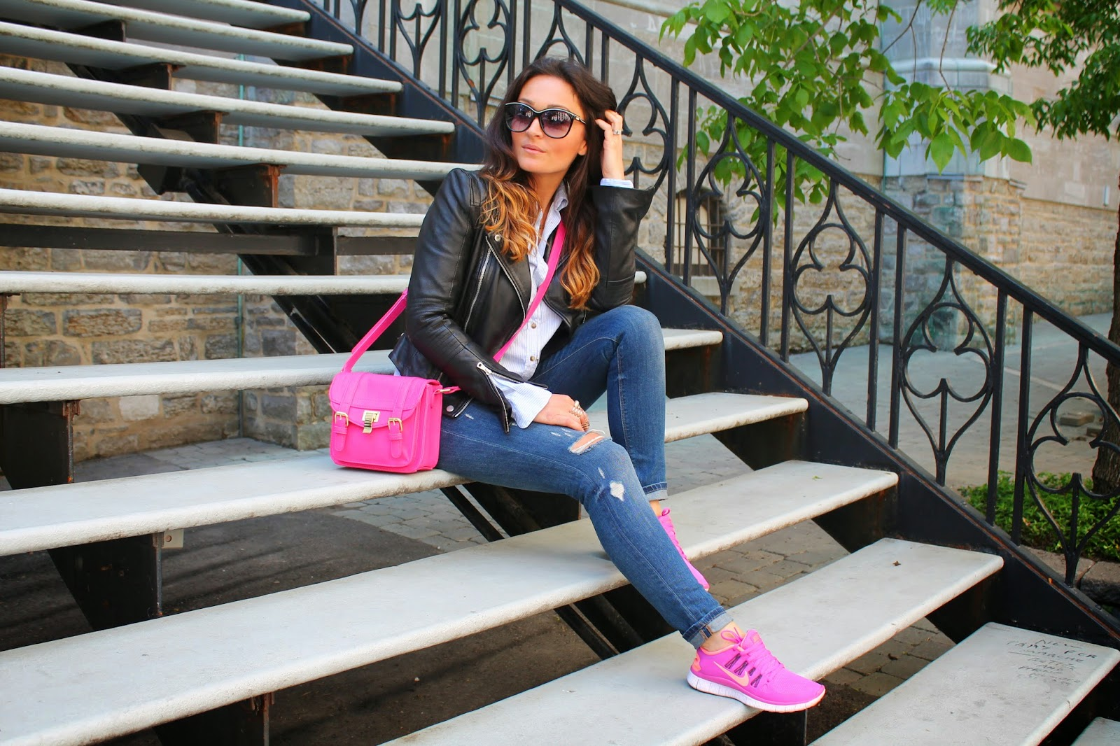 Sightseeing Montreal In Hot Pink Sneakers Amp Ripped Jeans