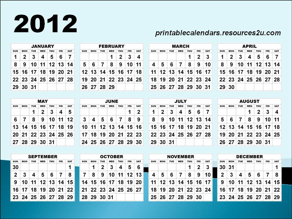 free printable homemade 2012 calendars and planners free printable ...