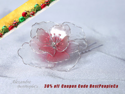 Transparent flower Hair Pin