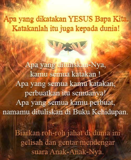 Tuhan Yesus Bapa Kami Di Sorga Datanglah Kerajaan Mu Jadilah Kehendak Mu Di Bumi Seperti Di Sorga