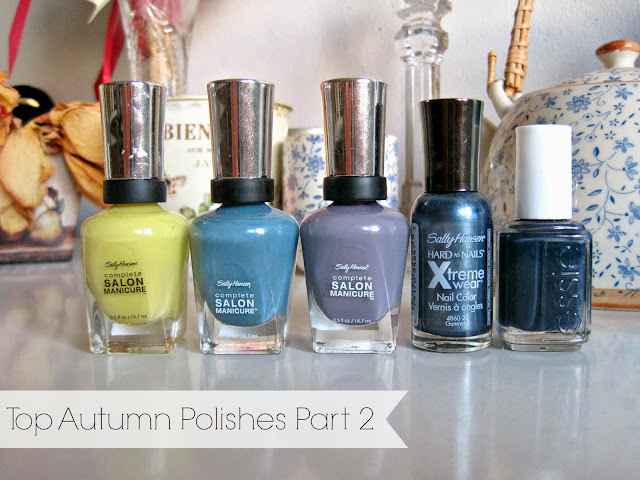 Sally Hansen - Yellow Kitty Sally Hansen - Gray by Gray  Sally Hansen - Greige Gardens  Sally Hansen - Gunmetal Essie - Bobbing for Baubles swatches nail polishes nails autumn fall top polishes