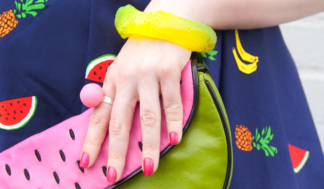 melon clutch, fruit dress, fruits in fashion