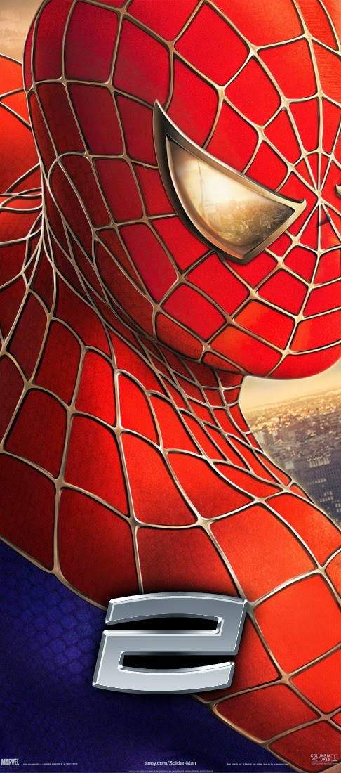Spiderman 2 poster free image from link provided shows 3/4 headshot Spiderman with gold eye and superimposed platinum 2