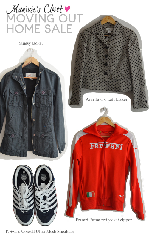 home sale, moving out sale, Stussy Jacket, Ann Taylor Loft Blazer, Ferrari Puma red jacket zipper, K-Swiss Gorzell Ultra Mesh Sneakers