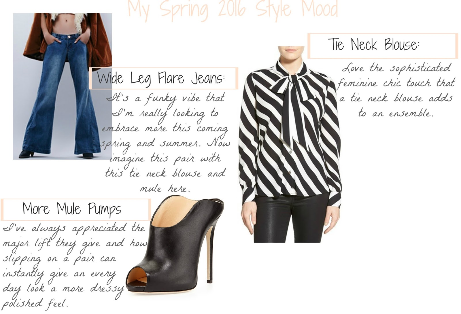 Spring-2016-Fashion-Style-Mood-Flare-Jeans-Tie-Neck-Blouse-Mules-Clogs