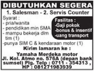 Loker Yamaha Merdeka Motor Palembang