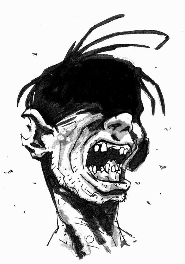 zombie sketch ink black and white