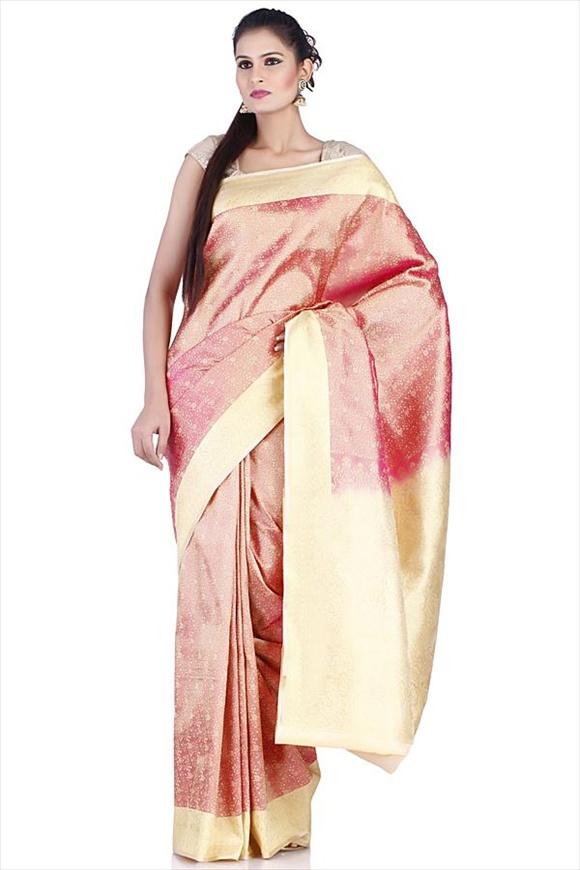 Fuschia Polyester Banarasi Saree