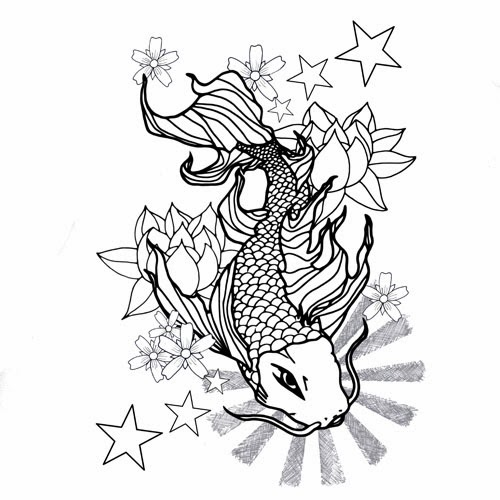 Koi fish stars and lotus tattoo stencil