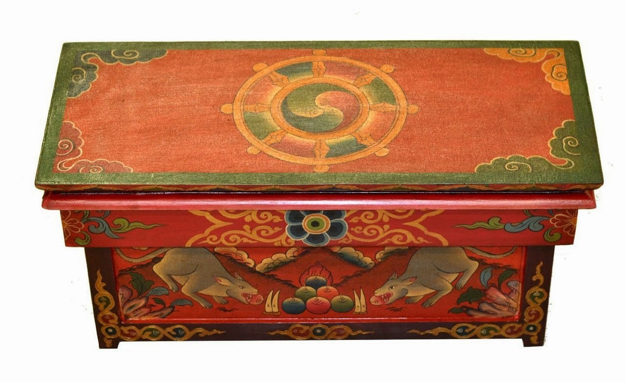 Buddhist altar table with dharma wheel