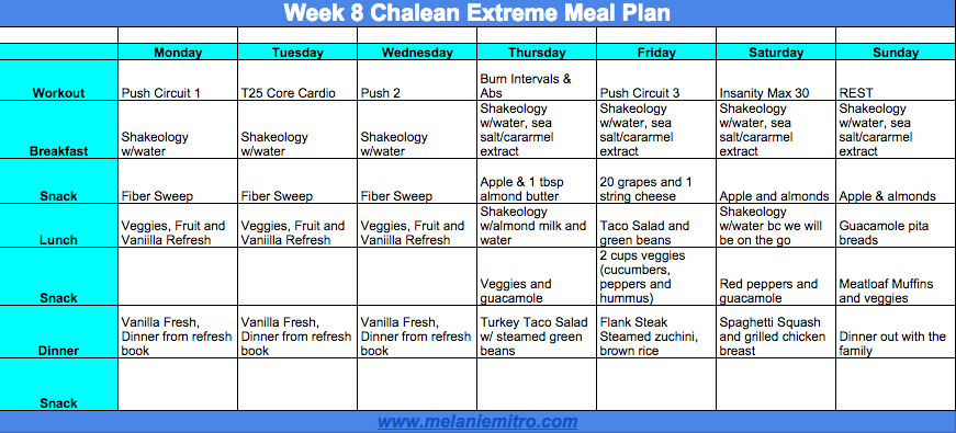Chalean Extreme Clean Eating Meal Plan, Melanie Mitro