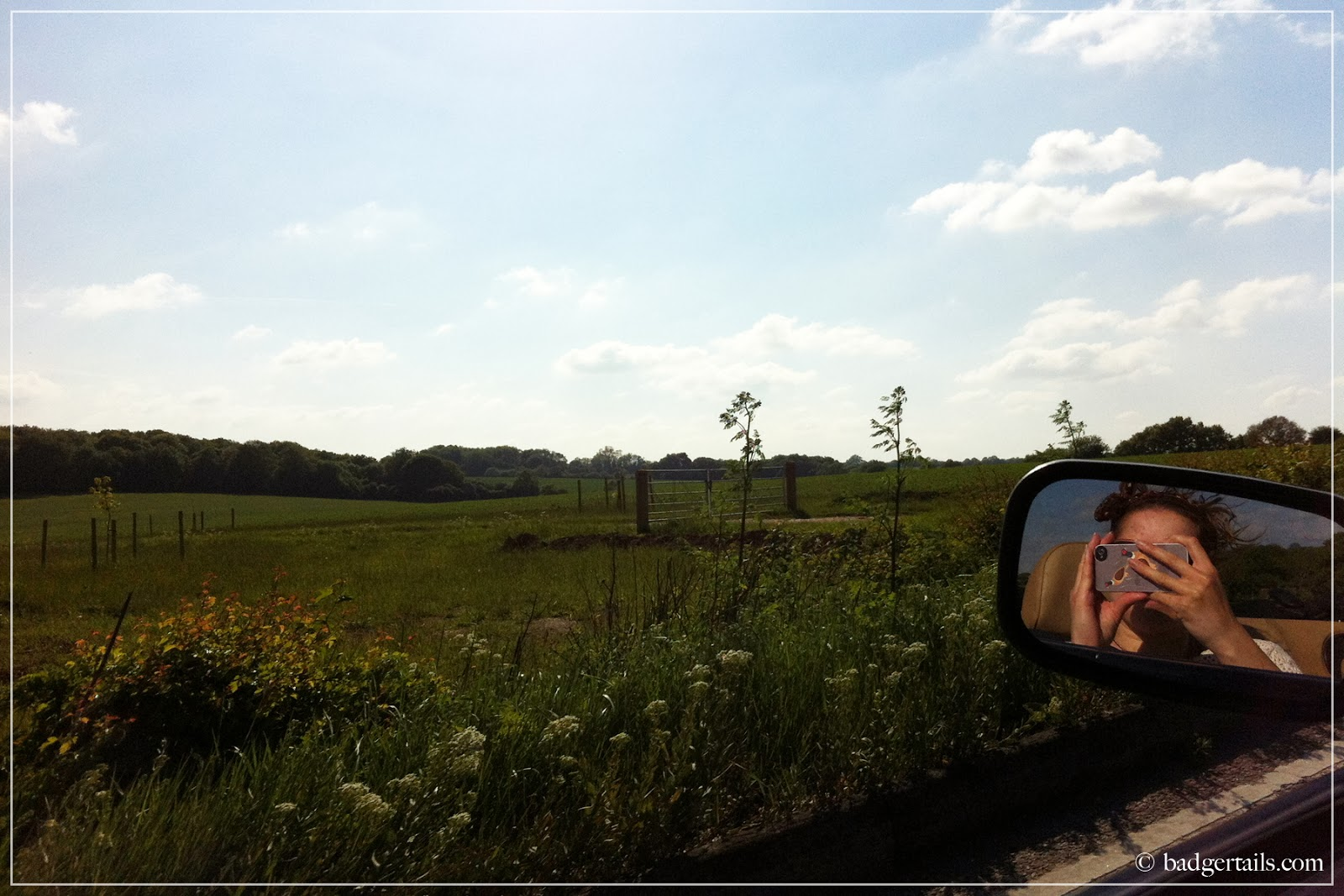 english countryside in height of summer view from convertible window