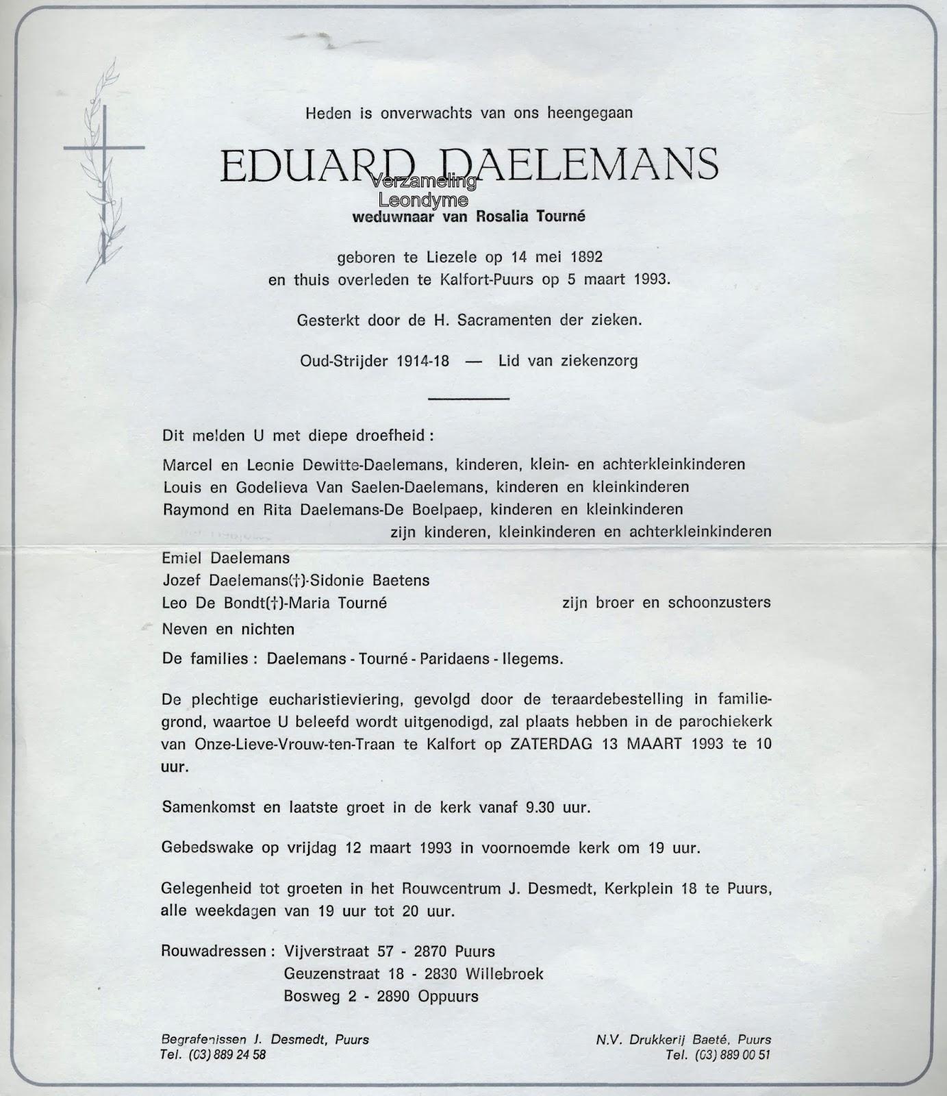 Rouwbrief, Eduard Daelemans. Verzameling Leondyme.