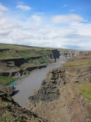 Canyon near Dettifoss with bluish water, Iceland