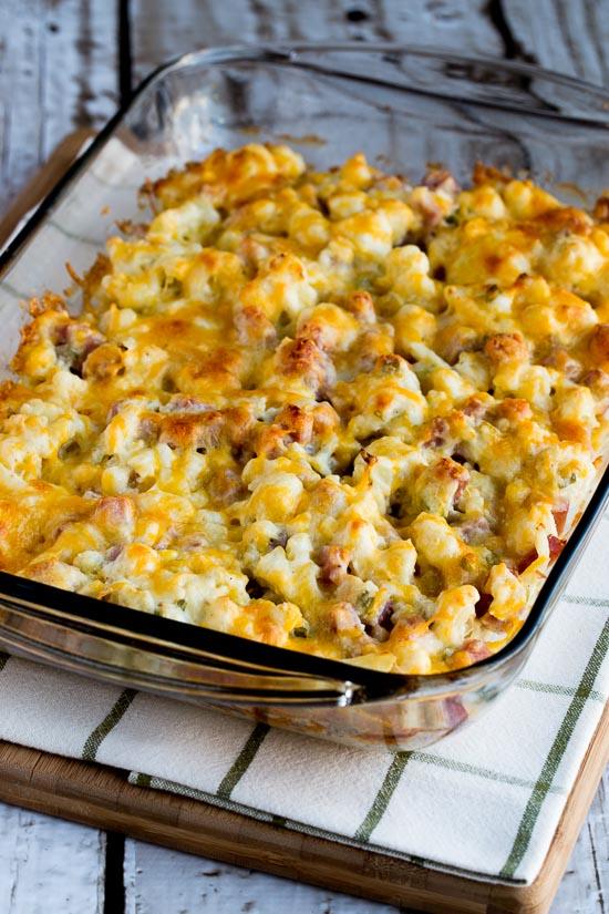 pie casserole with garlic parmesan cauliflower topping zucchini ...