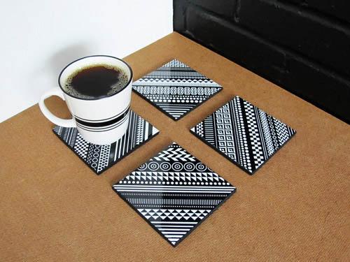 Home Decor Ceramic Tile Coaster Set by Core Deco