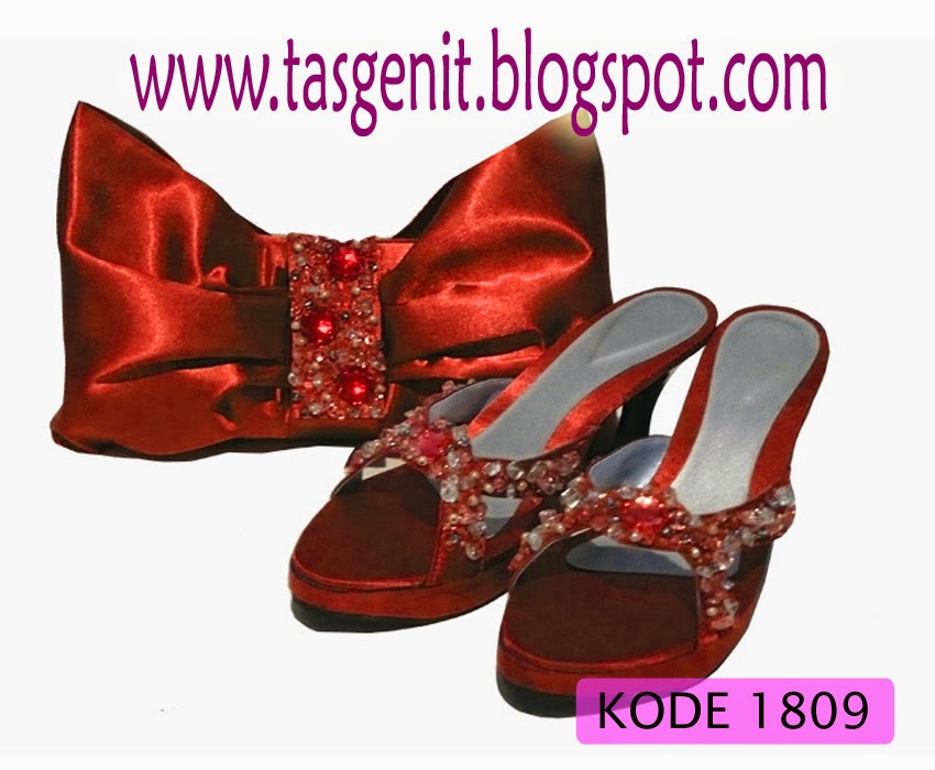 sepatu pesta cantik, sepatu pesta merah, sepatu wanita big size, tas pesta dan sandal pesta kebaya