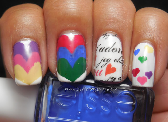 Rainbow Hearts Nail Art