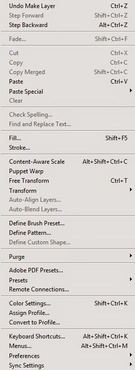 Photoshop CC قائمة تحرير Edit