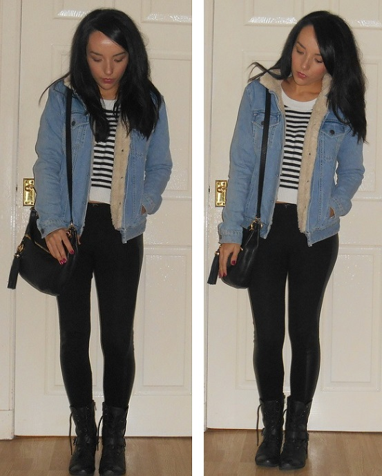 denim borg jacket combat boots and stripy jumper