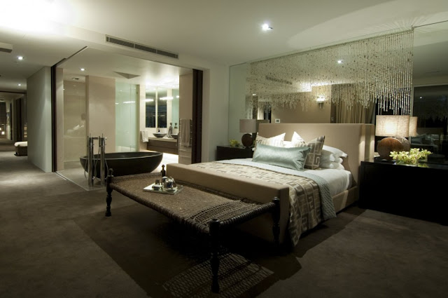 Large bedroom at night