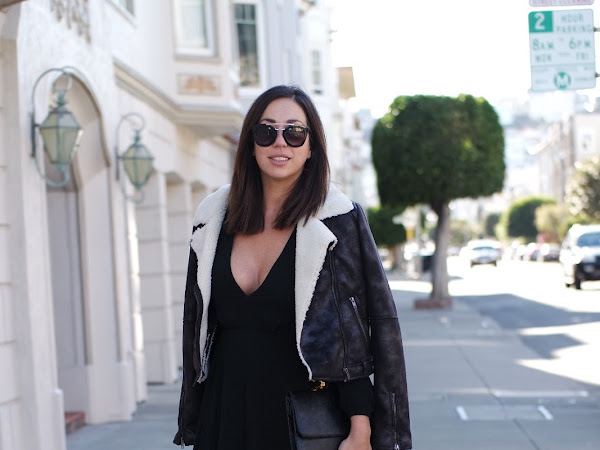 Showing Winter Skin: LBD + Thigh High Boots + Shearling Jacket