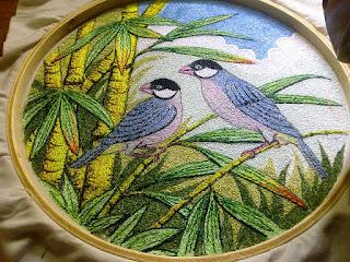java sparrow on bamboo tree