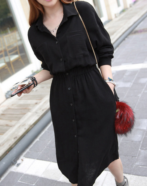 Elastic Waistband Button-Down Dress