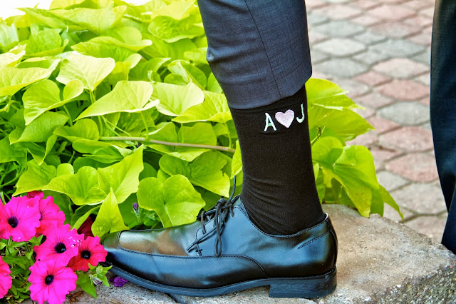 Wedding Day Details - Monogram Socks. Tammy Sue Allen Photography, Lansing Michigan.