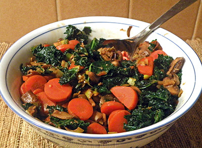 Bowl of Stir fry with serving spoon