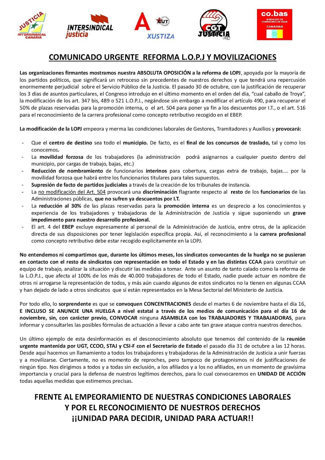 COMUNICADO URGENTE REFORMA L.O.P.J Y MOVILIZACIONES