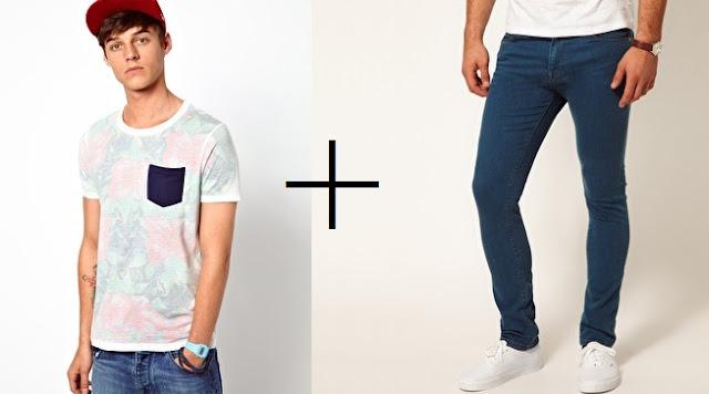 camiseta con bolsillo y pantalon pitillo asos