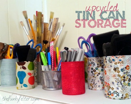 easy upcycled tin can storage using fabric scraps and decoupage glue