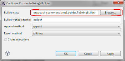 Eclipse generate toString() with custom builder
