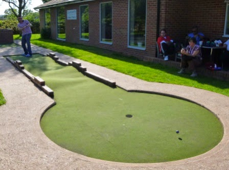 Minigolfer Richard Gottfried playing the 12th hole at the Four Ashes Golf Centre in Dorridge