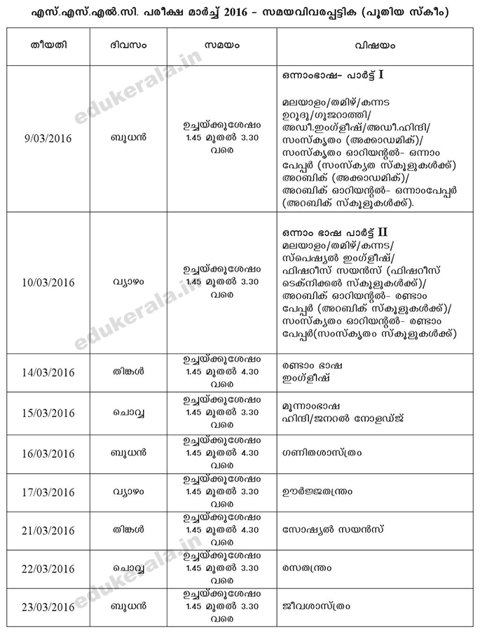 Kerala sslc exam timetable 2016 10th class exam schedule for 10th time table 2016