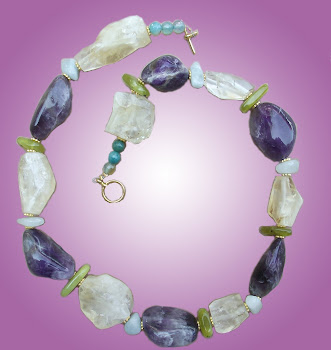 Citrine Amethyst and Jade In Style Necklace