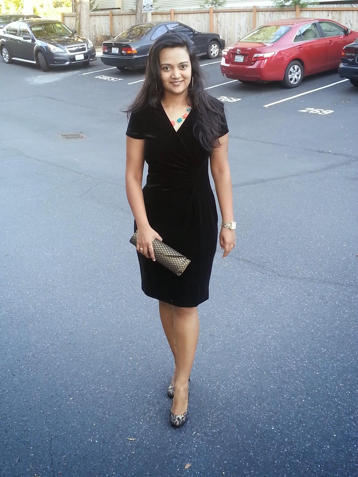Seattle fashion blogger, ,Black Velvet dress, classy black dress, lady like dress, elegant dress for indian women, famous indian fashion blogger,