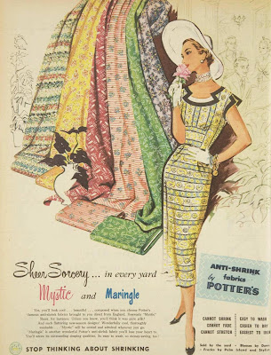 anti-shrink fabric ad from 1955
