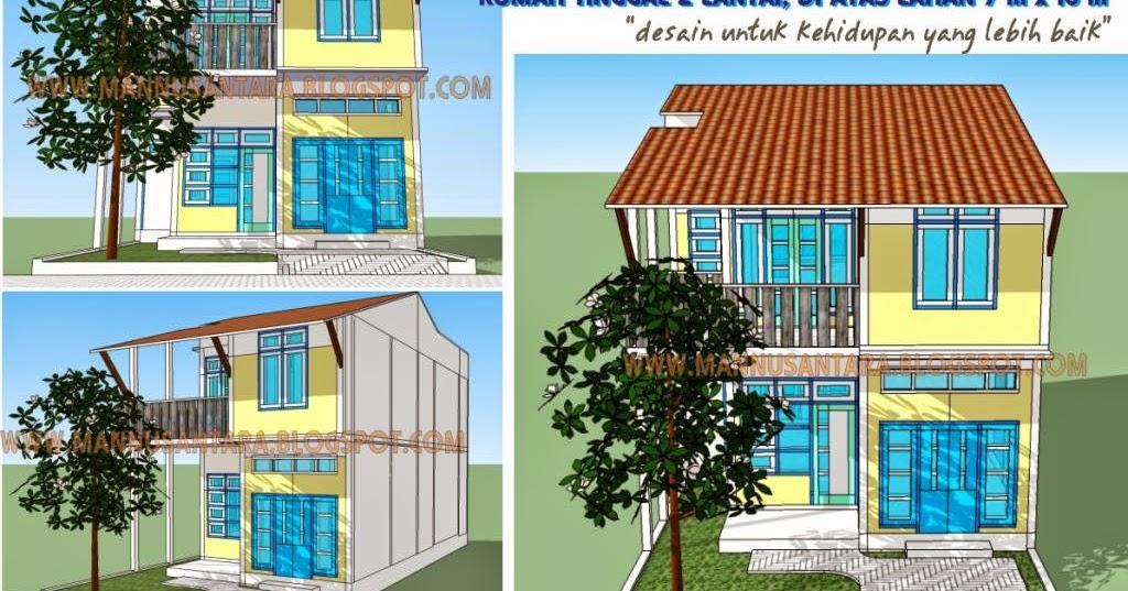 rancangan rumah tinggal 2 lantai di lahan 7 x 15 meter