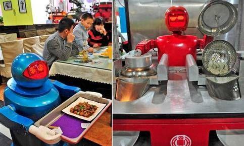 بالصور والفيديو…مطعم صيني طاقمه يتألف من 20 روبوتاً