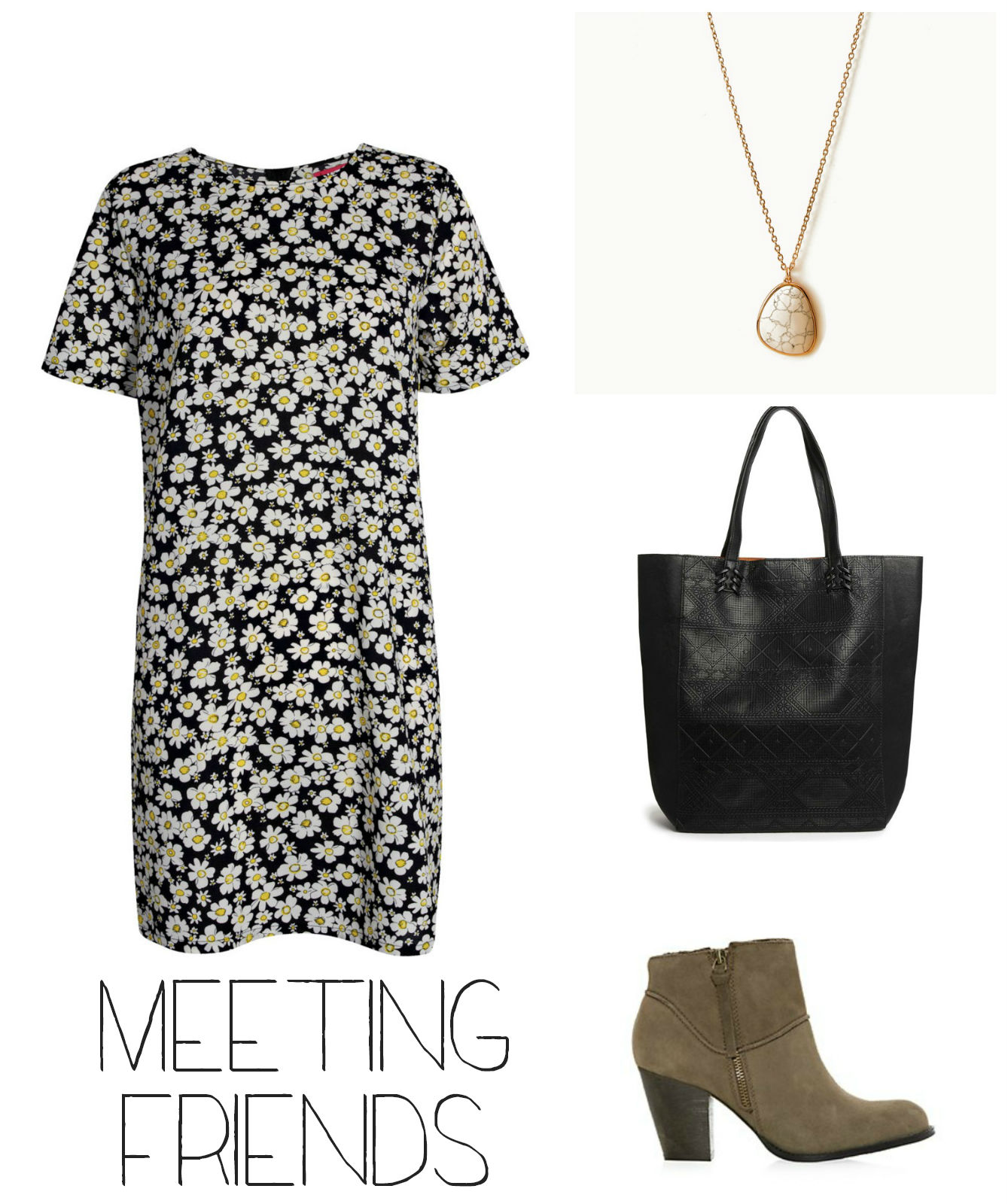 Outfit for meeting friends with shift dress