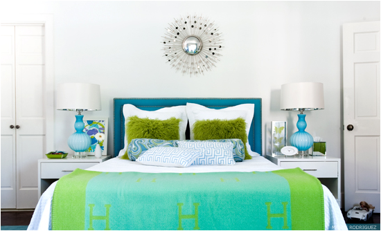 love the color blue and green for a girls room and especially this