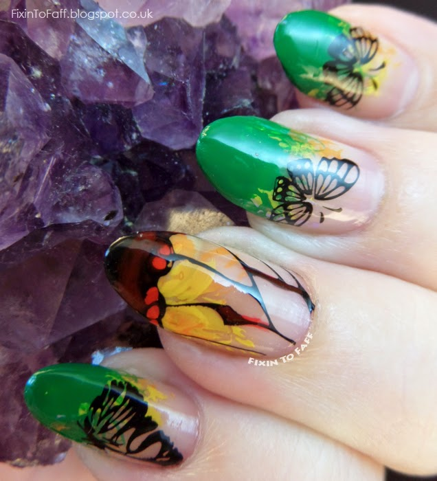 Glasswing Butterfly Nail Art