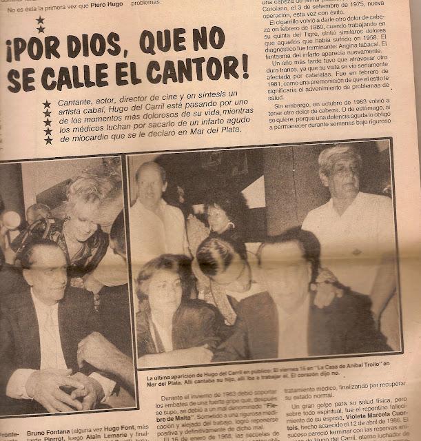 Prensa en internacion de Hugo del Carril, diarios