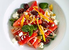 Watermelon + Feta Salad w/ Marinated Olives and Preserved Lemons
