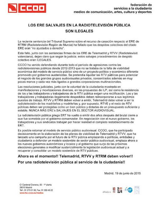 Los ERE salvajes en la RTV pública son ilegales